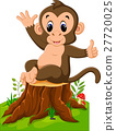 Cartoon illustration monkey playing in the forest 27720025
