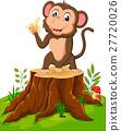 Cartoon funny monkey holding banana on tree stump 27720026