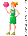 Vector young redhead basketball player girl 27720089