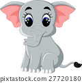 Cute elephant cartoon sitting 27720180