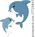 Cute dolphin couple cartoon 27720843