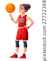 Vector young Asian basketball player girl spinning 27722368