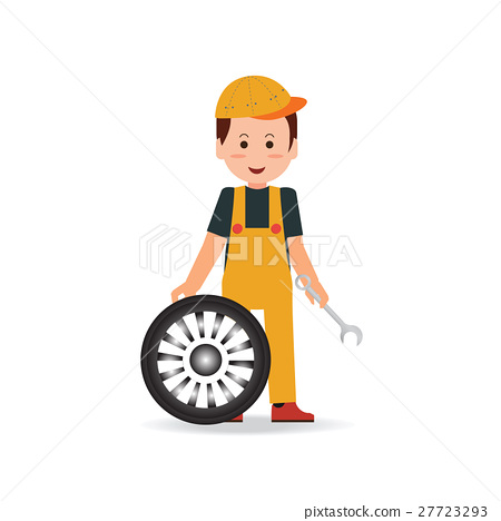Tire service man worker changing tire. 27723293