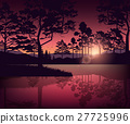 Mountains and lake landscape with silhouette of 27725996