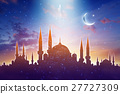 Mosque silhouettes, shiny moon and stars 27727309