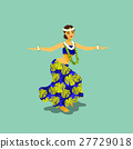 Illustration of a Hawaiian hula dancer woman 27729018