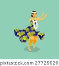 Illustration of a Hawaiian hula dancer woman 27729020