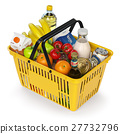 Shopping basket with variety of grocery products 27732796