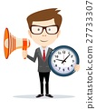 Businessman with a loudspeaker and wall clocks. 27733307