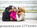 Happy family. Parents kissing their baby 27734483