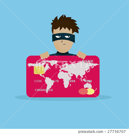 Thief holding credit card in hand 27736707