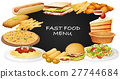 Different kinds of fastfood on menu 27744684