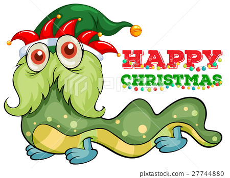 Christmas card template with green monster 27744880