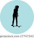 girl rides a skateboard 27747343