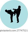taekwondo woman silhouette vector 27747521