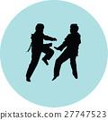 taekwondo woman silhouette vector 27747523