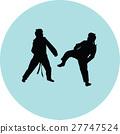 taekwondo woman silhouette vector 27747524