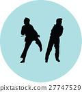 taekwondo woman silhouette vector 27747529