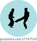 taekwondo woman silhouette vector 27747530
