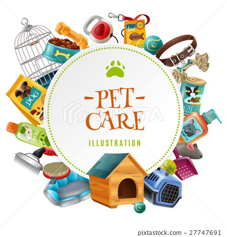 Pet Care  Accessories Round Frame Illustration  27747691