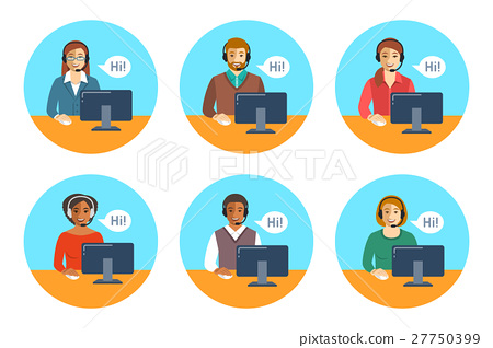 Call center agents team at desks flat icons 27750399