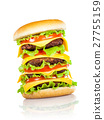 Tasty and appetizing hamburger on a white 27755159