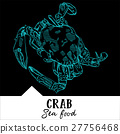 Hand draw vector illustration the crab for a menu.  27756468