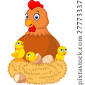 a chicken with many cracking eggs 27773337