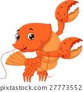 Cartoon lobster waving 27773552