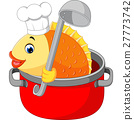 Cartoon funny fish being cooked in a pan 27773742