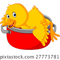 Cartoon funny duck being cooked in a pan 27773781