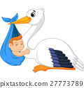 Cartoon stork carrying cute baby 27773789