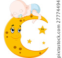 Cute baby sleeping on the moon 27774494
