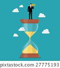 Businessman with monocular on sandglass 27775193