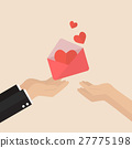 Man giving love letter to a woman 27775198