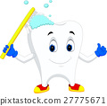 Tooth cartoon holding toothbrush 27775671