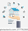 Business hand holding house insurance service. 27776268