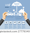 Hand holding a paper home, car, family.  27776340