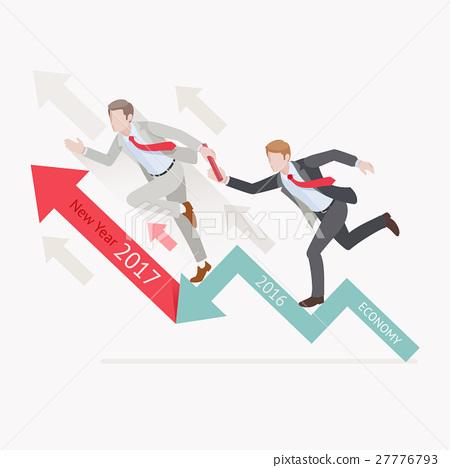 Businessman passing the baton running relay race 27776793