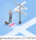 Businessman looking directional signs arrows.  27776794
