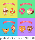 Smiling Characters. Set of Funny Sweets Flat 27783838