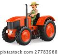 3D Farmer driving a tractor 27783968