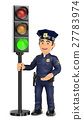 3D Police with a traffic light in green 27783974