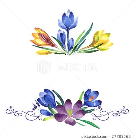 Wildflower crocuses flower frame in a watercolor 27785369