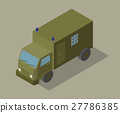 Flat 3d isometric paddy wagon for city map 27786385
