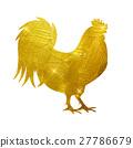 Vector Illustration of Godlen Fire Rooster, Symbol 27786679