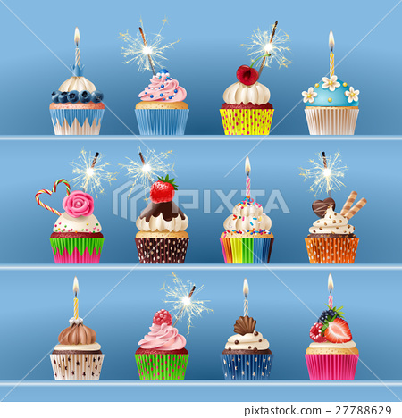 Collection of festive cupcakes with sparklers and 27788629
