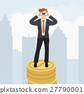 Businessman with binoculars standing on money 27790001