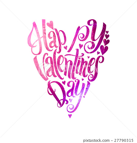 Happy Valentines Day Lettering Pink Foil Heart Stock Illustration
