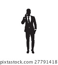 Silhouette Business Man Speaking Cell Smart Phone 27791418